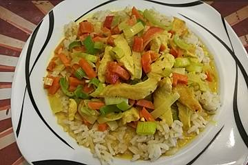 Huhn mit Gemüse in Kokos - Soße