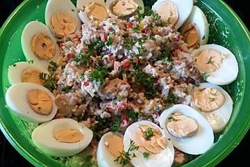 Thunfisch - Reis - Salat mit Pute und Ei
