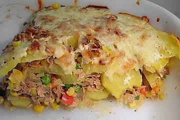 Bunter Kartoffel - Thunfisch Auflauf