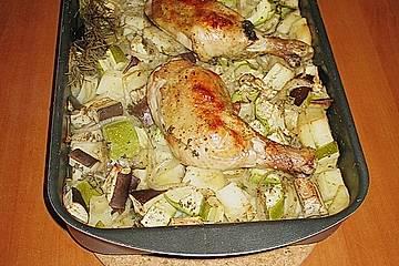 Gemüsepfanne mit Hühnerschenkel