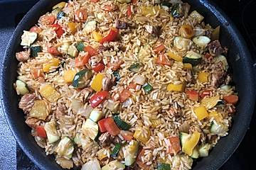 Puten - Reis Pfanne mit Paprika und Zucchini