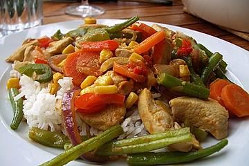 Indische Gemüsepfanne mit Huhn