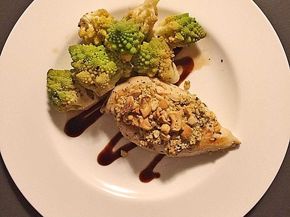 Hähnchenfilets mit Macadamia-Kruste und Brokkoli an Balsamico von funkelsteinchen | Chefkoch