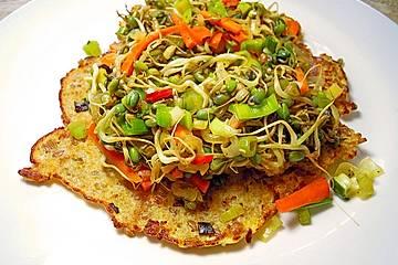 Grünkern - Omelett mit Sprossengemüse