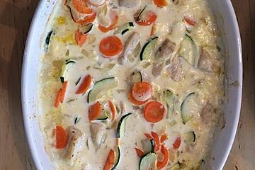 Überbackene Hähnchen - Gemüse - Pfanne