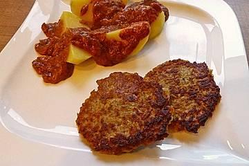 Grünkern-Gemüse-Bratlinge mit Zwetschgen-Ingwer-Sauce