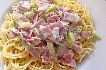 Spaghetti mit Schinken-Lauch-Käse-Sahnesauce
