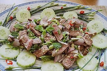 Thai-Rindfleisch-Salat mit Minze und Koriander - Waterfall-Beef-Salad