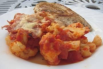 Blumenkohl mit Käse - Tomaten - Sauce