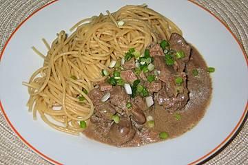 Mediterrane Hähnchenleber mit Spaghetti
