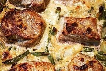 Filet - Pfännchen mit Speckbohnen
