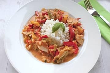 Paprika - Fleischwurst - Topf