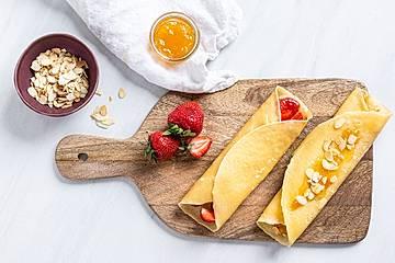 Pfannkuchen einfach, Erdbeerpfannkuchen und Pariser Pfannkuchen