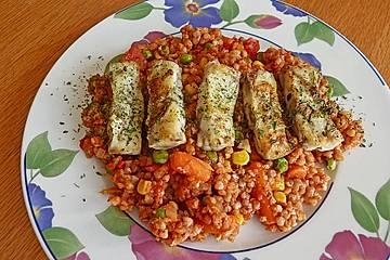 Weizen - Gemüse - Pfanne mit Seelachs