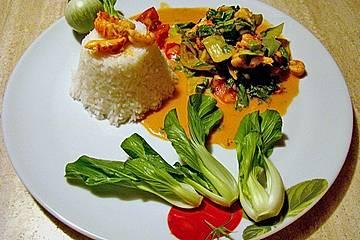Flusskrebscurry mit Thai - Auberginen und Pak Choi