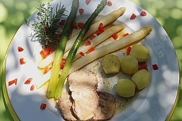 Kalbsrücken 80 Grad mit Spargel und Frühkartoffeln