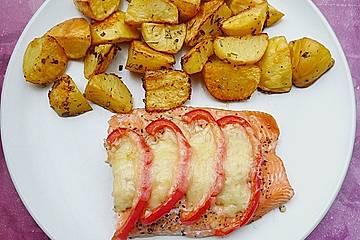 Lachsforellenfilet gebacken, mit Ofenkartoffeln