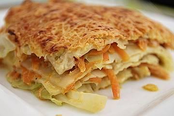 Wunderbare Spitzkohl-Möhren-Lasagne mit Salbei und Muskat