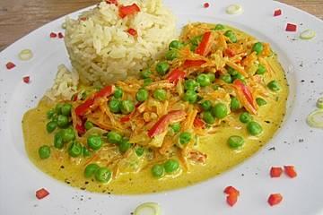Reis-Gemüse-Pfanne mit Frischkäse