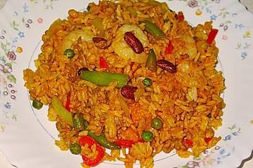 Paella - Currypfanne - Reispfanne wahlweise mit oder ohne Krabben