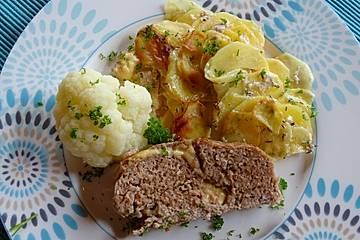Hackbraten auf Kartoffelgratin