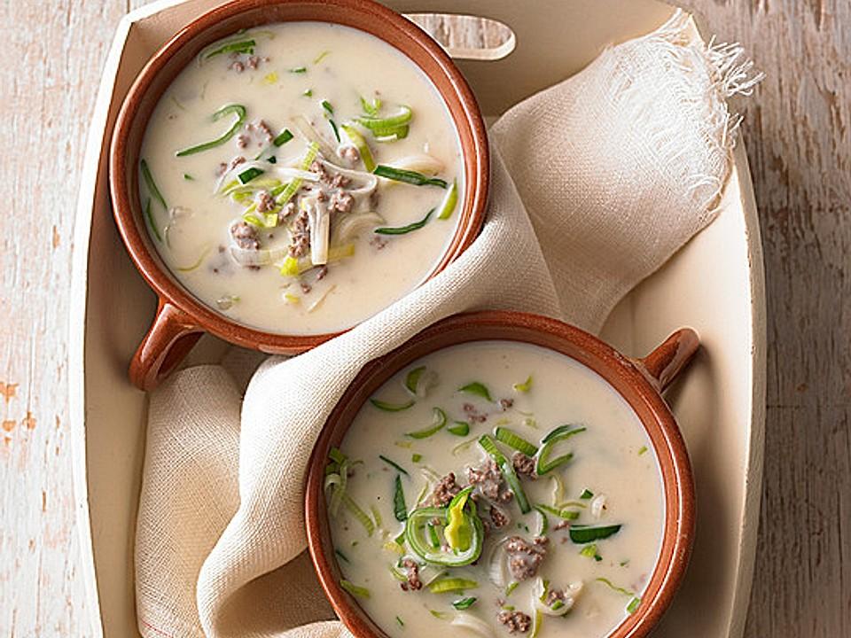 Käse-Lauch-Suppe mit Hackfleisch von Nitseltrik | Chefkoch