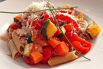 Gemüse - Pasta mit Tomatenrahmsauce