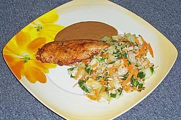 Gebackener Reis mit Hähnchenfbrustfilet und Satesoße